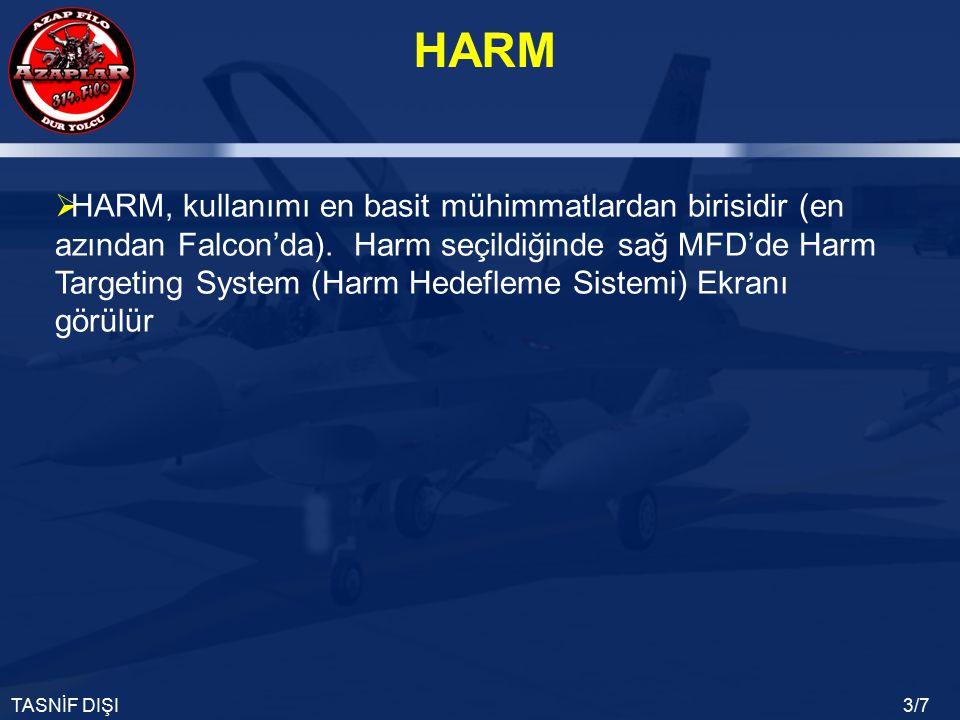 HARM TASNİF DIŞI3/7  HARM, kullanımı en basit mühimmatlardan birisidir (en azından Falcon'da). Harm seçildiğinde sağ MFD'de Harm Targeting System (Ha