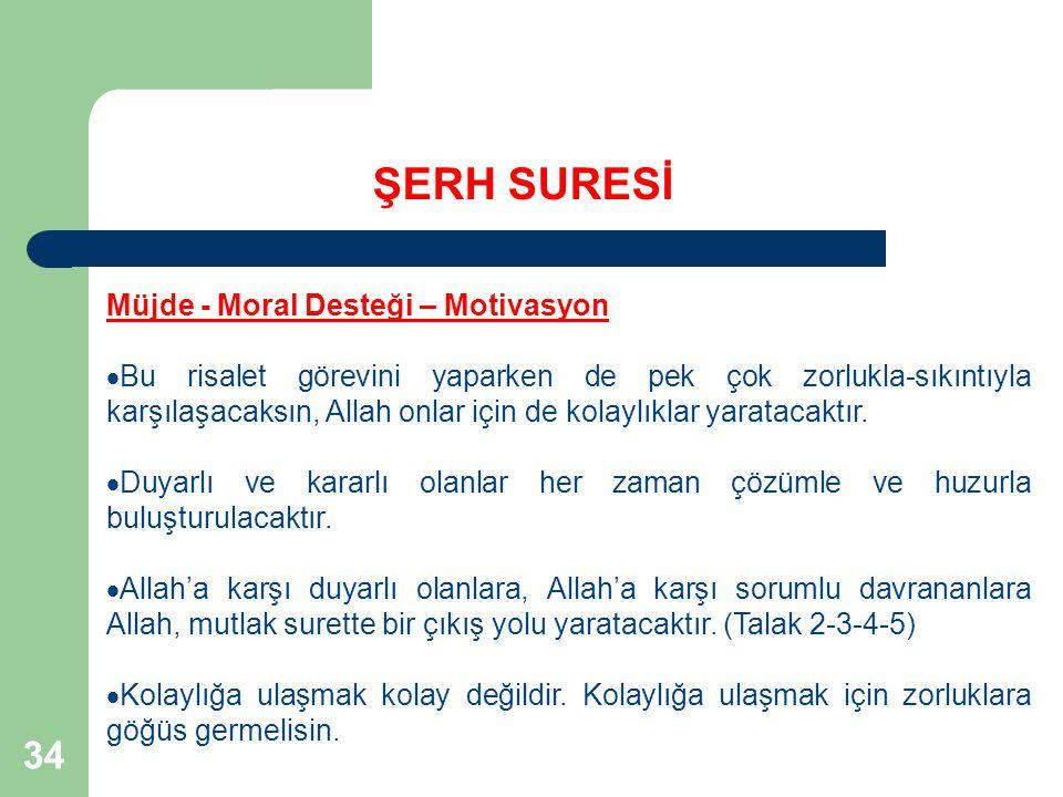 34 ŞERH SURESİ Müjde - Moral Desteği – Motivasyon  Bu risalet görevini yaparken de pek çok zorlukla-sıkıntıyla karşılaşacaksın, Allah onlar için de k