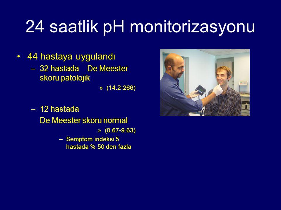 24 saatlik pH monitorizasyonu 44 hastaya uygulandı –32 hastada De Meester skoru patolojik »(14.2-266) –12 hastada De Meester skoru normal »(0.67-9.63)