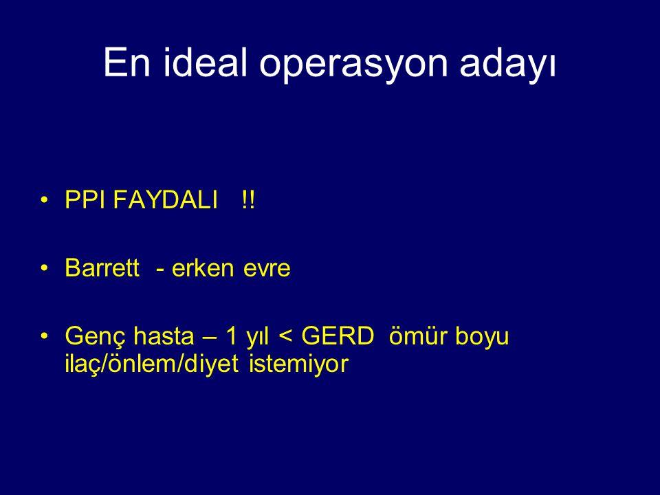 En ideal operasyon adayı PPI FAYDALI !! Barrett - erken evre Genç hasta – 1 yıl < GERD ömür boyu ilaç/önlem/diyet istemiyor