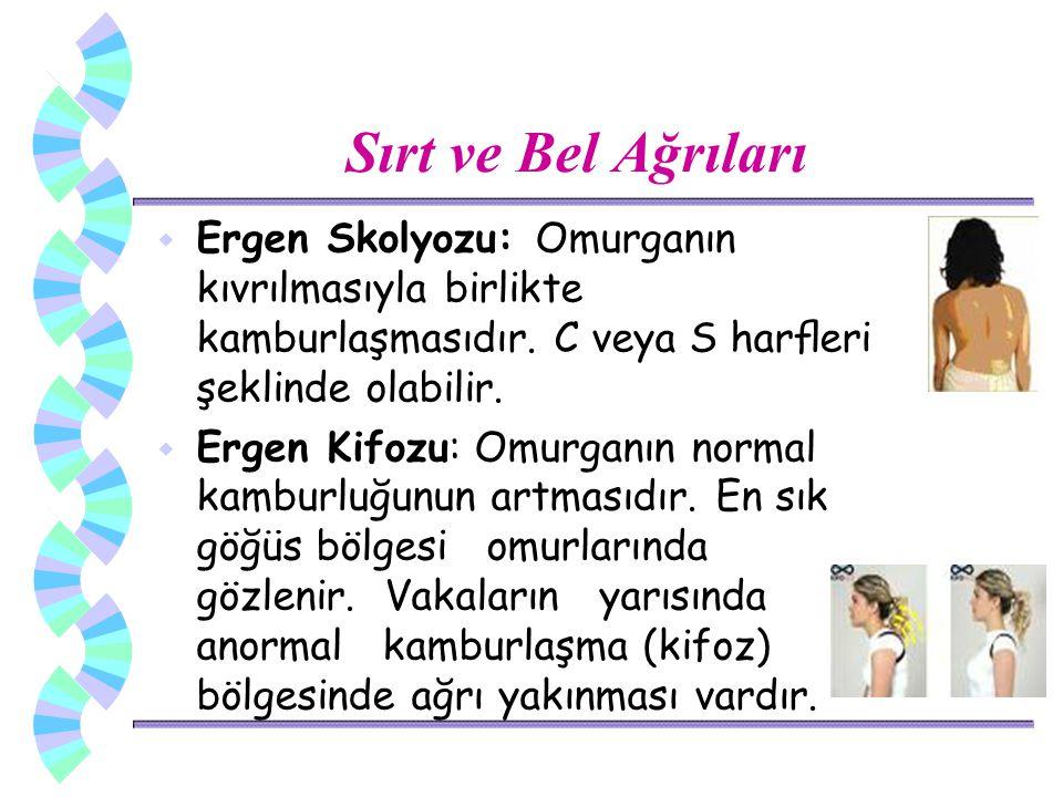 Sırt ve Bel Ağrıları w Ergen Skolyozu: Omurganın kıvrılmasıyla birlikte kamburlaşmasıdır. C veya S harfleri şeklinde olabilir. w Ergen Kifozu: Omurganı