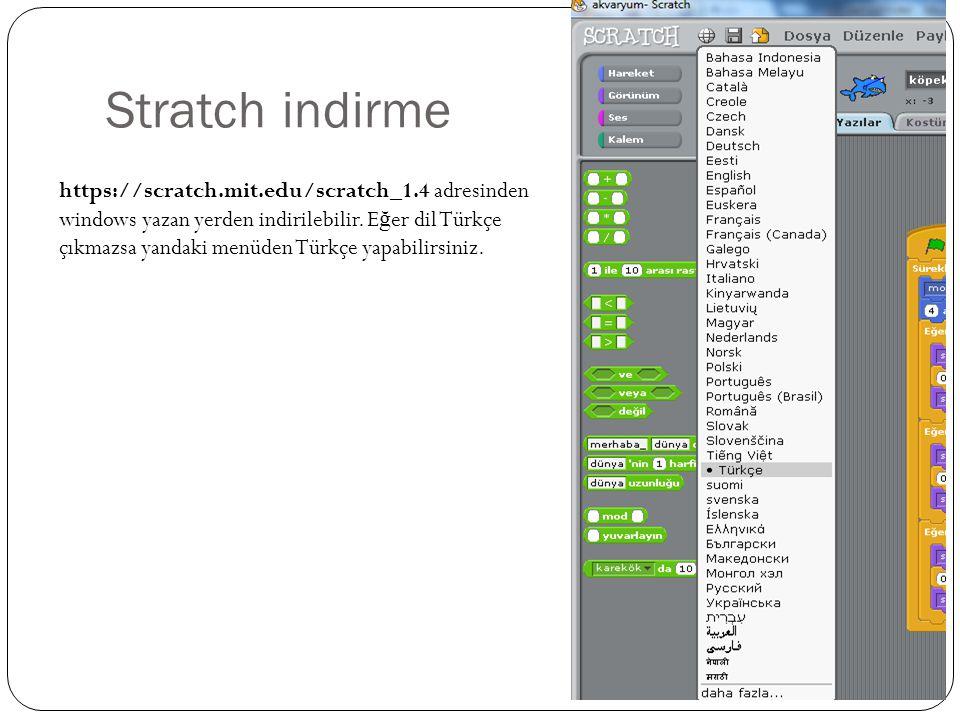 Stratch indirme https://scratch.mit.edu/scratch_1.4 adresinden windows yazan yerden indirilebilir. E ğ er dil Türkçe çıkmazsa yandaki menüden Türkçe y