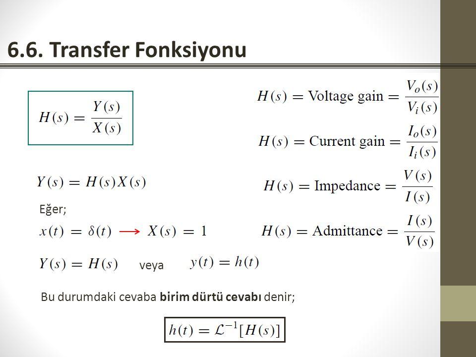 6.6. Transfer Fonksiyonu Eğer; veya Bu durumdaki cevaba birim dürtü cevabı denir;