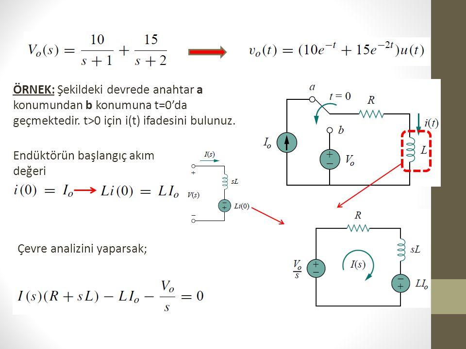 ÖRNEK: Şekildeki devrede anahtar a konumundan b konumuna t=0'da geçmektedir. t>0 için i(t) ifadesini bulunuz. Endüktörün başlangıç akım değeri Çevre a