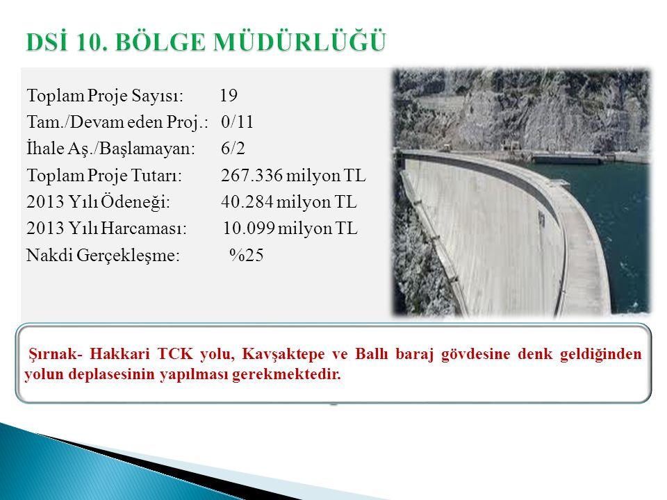 Toplam Proje Sayısı: 19 Tam./Devam eden Proj.: 0/11 İhale Aş./Başlamayan: 6/2 Toplam Proje Tutarı: 267.336 milyon TL 2013 Yılı Ödeneği: 40.284 milyon TL 2013 Yılı Harcaması: 10.099 milyon TL Nakdi Gerçekleşme: %25 Şırnak- Hakkari TCK yolu, Kavşaktepe ve Ballı baraj gövdesine denk geldiğinden yolun deplasesinin yapılması gerekmektedir.