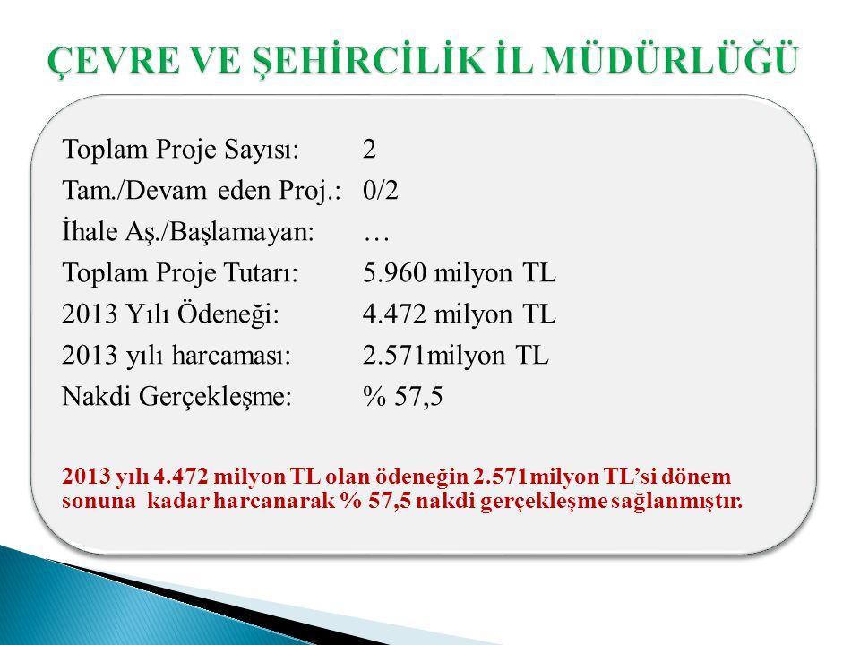 Toplam Proje Sayısı: 2 Tam./Devam eden Proj.: 0/2 İhale Aş./Başlamayan: … Toplam Proje Tutarı: 5.960 milyon TL 2013 Yılı Ödeneği: 4.472 milyon TL 2013 yılı harcaması: 2.571milyon TL Nakdi Gerçekleşme: % 57,5 2013 yılı 4.472 milyon TL olan ödeneğin 2.571milyon TL'si dönem sonuna kadar harcanarak % 57,5 nakdi gerçekleşme sağlanmıştır.