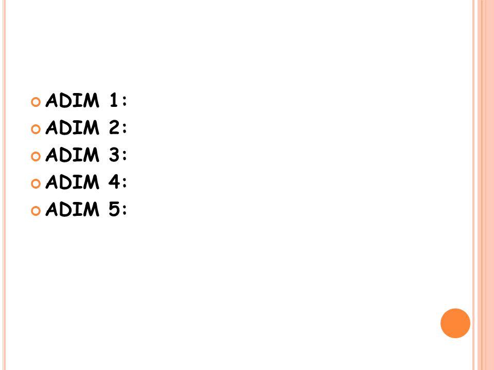 ADIM 1: Başla. ADIM 2: Birinci sayıyı giriniz ADIM 3: İkinci sayıyı giriniz. ADIM 4: İki sayıyı topla. ADIM 5: Bitir.