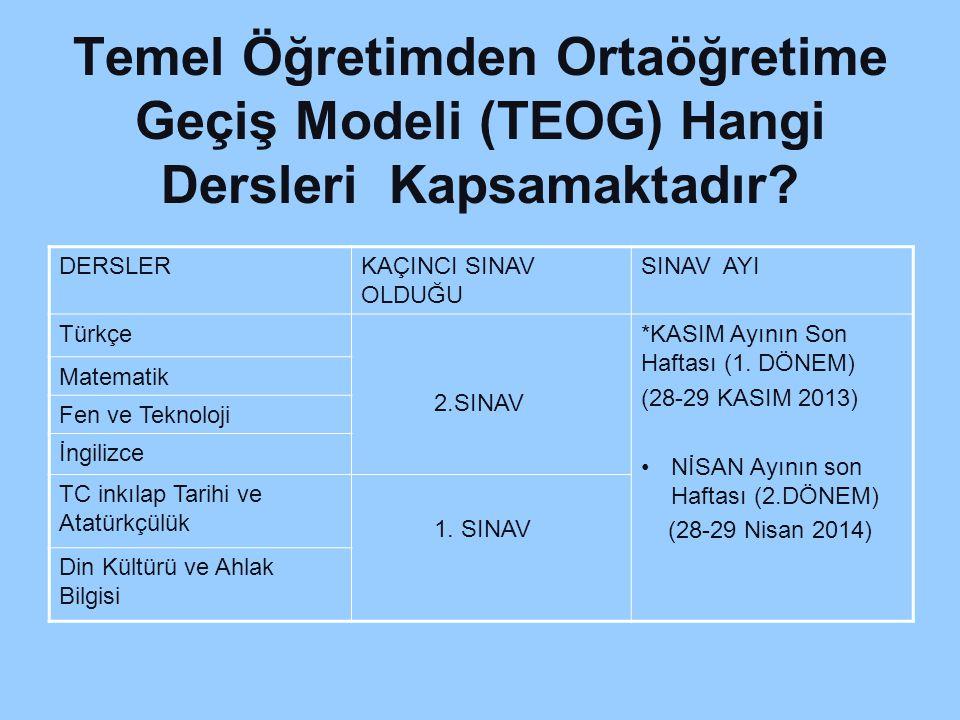 Temel Öğretimden Ortaöğretime Geçiş Modeli (TEOG) Hangi Dersleri Kapsamaktadır.
