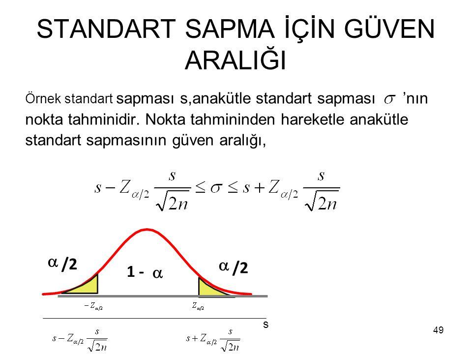 49 STANDART SAPMA İÇİN GÜVEN ARALIĞI Örnek standart sapması s,anakütle standart sapması 'nın nokta tahminidir.