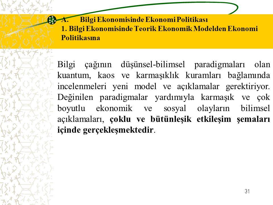 31 A. Bilgi Ekonomisinde Ekonomi Politikası 1. Bilgi Ekonomisinde Teorik Ekonomik Modelden Ekonomi Politikasına Bilgi çağının düşünsel-bilimsel paradi