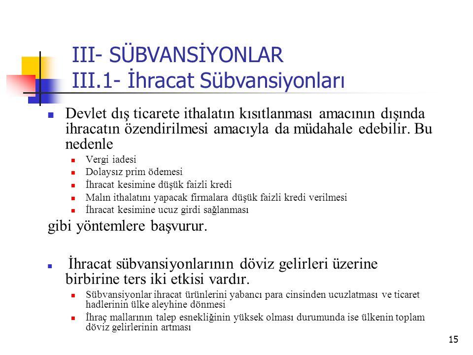 15 III- SÜBVANSİYONLAR III.1- İhracat Sübvansiyonları Devlet dış ticarete ithalatın kısıtlanması amacının dışında ihracatın özendirilmesi amacıyla da