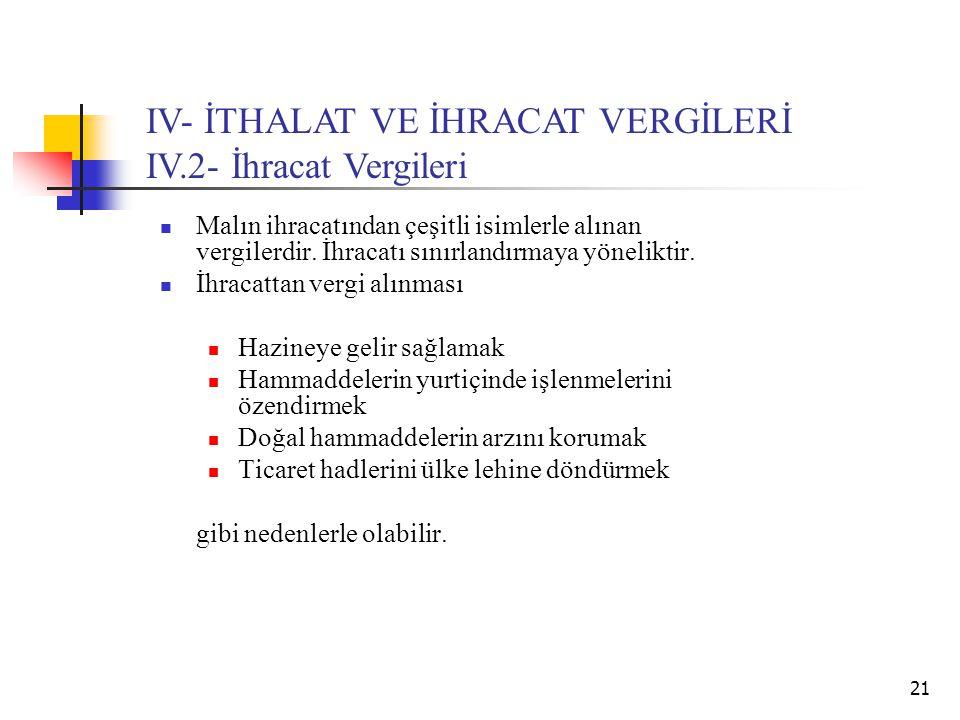 21 IV- İTHALAT VE İHRACAT VERGİLERİ IV.2- İhracat Vergileri Malın ihracatından çeşitli isimlerle alınan vergilerdir. İhracatı sınırlandırmaya yönelikt