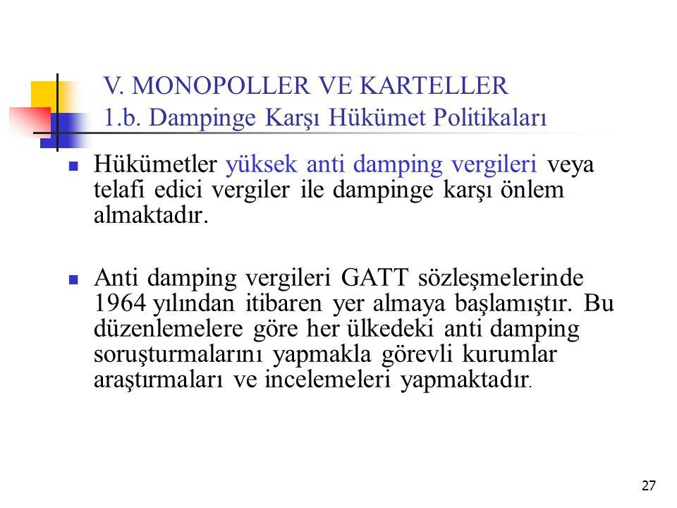 27 V. MONOPOLLER VE KARTELLER 1.b. Dampinge Karşı Hükümet Politikaları Hükümetler yüksek anti damping vergileri veya telafi edici vergiler ile damping