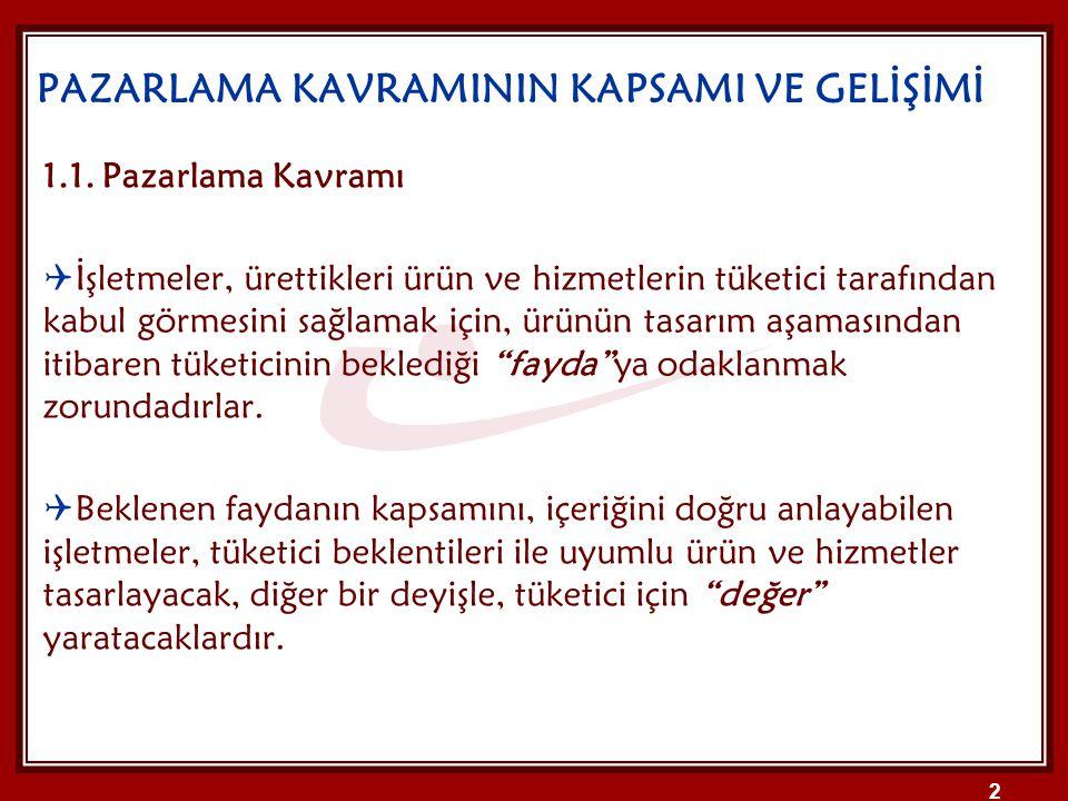 PAZARLAMA KAVRAMININ KAPSAMI VE GELİŞİMİ 1.1.