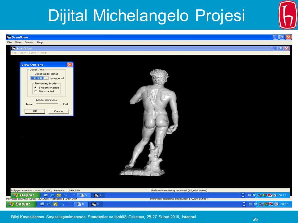 26 Bilgi Kaynaklarının Sayısallaştırılmasında Standartlar ve İşbirliği Çalıştayı, 25-27 Şubat 2010, İstanbul Dijital Michelangelo Projesi