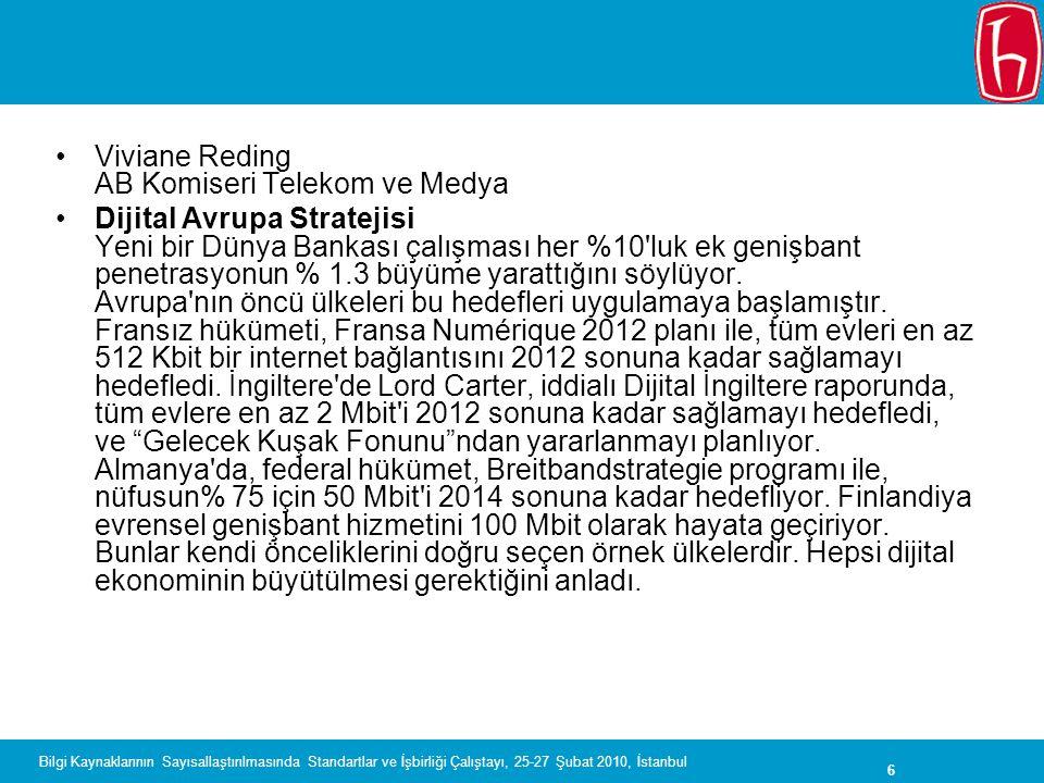6 Bilgi Kaynaklarının Sayısallaştırılmasında Standartlar ve İşbirliği Çalıştayı, 25-27 Şubat 2010, İstanbul Viviane Reding AB Komiseri Telekom ve Medy