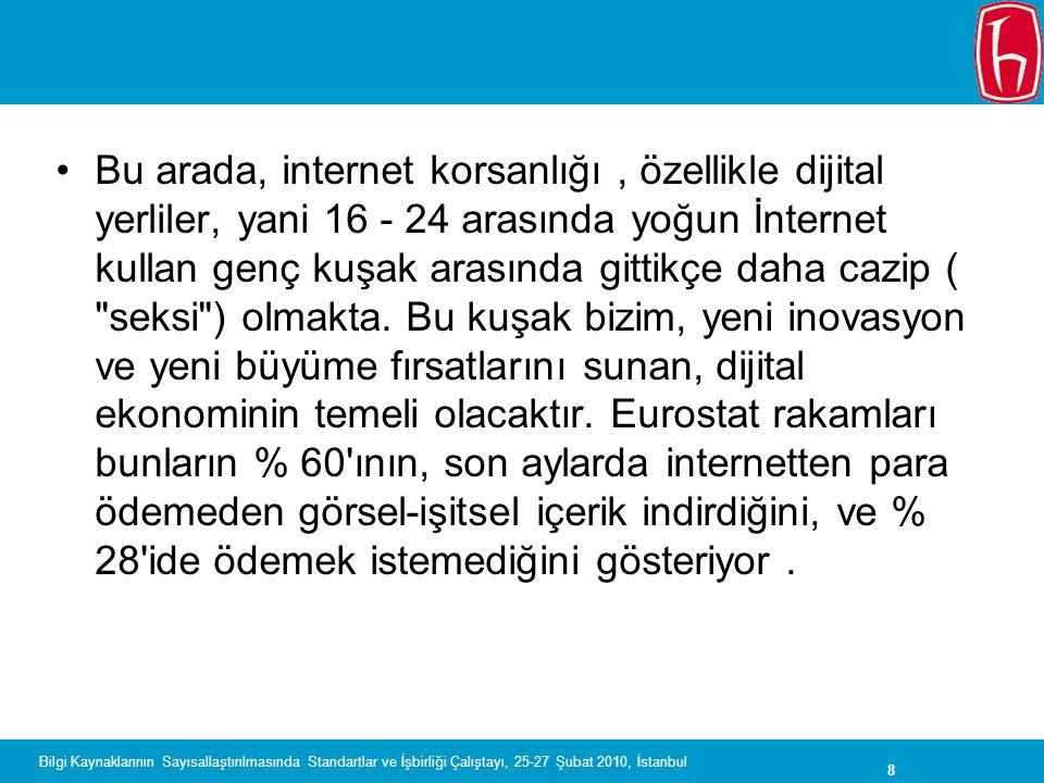 8 Bilgi Kaynaklarının Sayısallaştırılmasında Standartlar ve İşbirliği Çalıştayı, 25-27 Şubat 2010, İstanbul Bu arada, internet korsanlığı, özellikle d