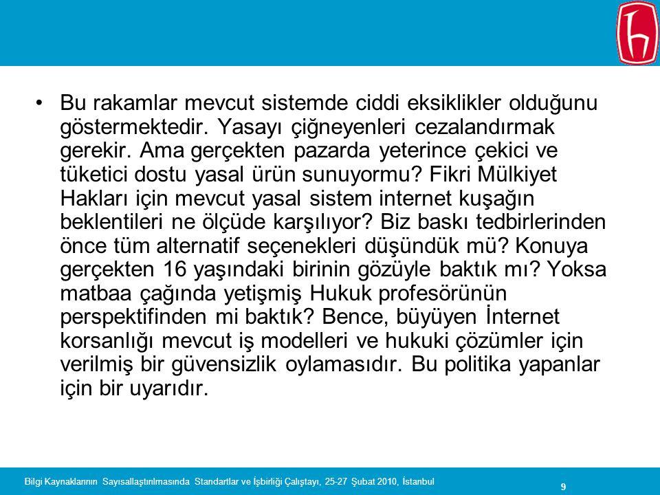 9 Bilgi Kaynaklarının Sayısallaştırılmasında Standartlar ve İşbirliği Çalıştayı, 25-27 Şubat 2010, İstanbul Bu rakamlar mevcut sistemde ciddi eksiklik