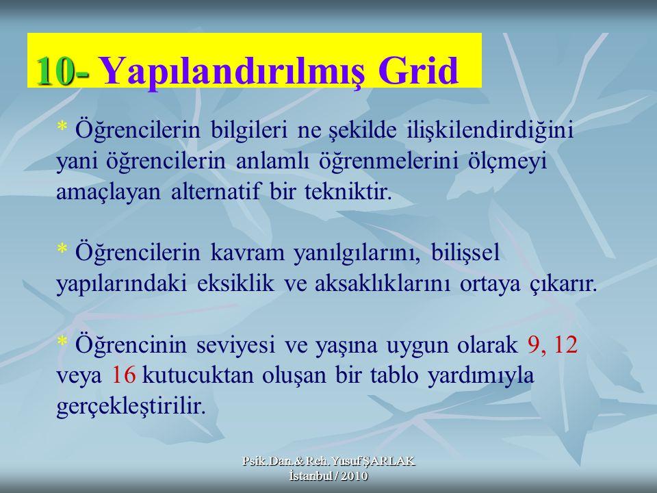 10- 10- Yapılandırılmış Grid * Öğrencilerin bilgileri ne şekilde ilişkilendirdiğini yani öğrencilerin anlamlı öğrenmelerini ölçmeyi amaçlayan alternat