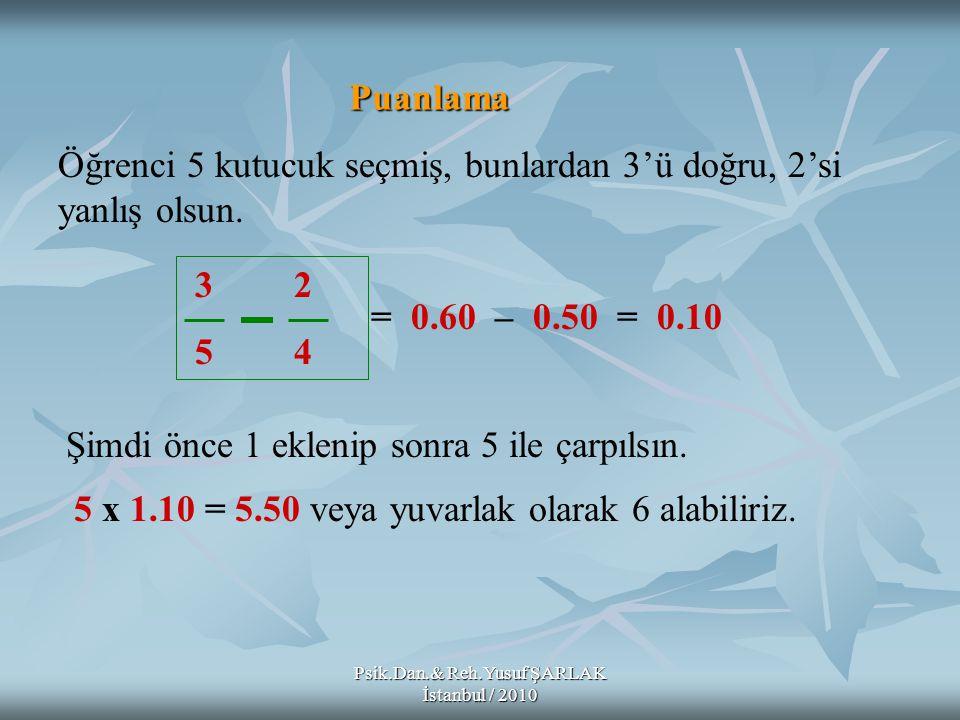 Psik.Dan.& Reh.Yusuf ŞARLAK İstanbul / 2010 Puanlama 3 2 5 4 Öğrenci 5 kutucuk seçmiş, bunlardan 3'ü doğru, 2'si yanlış olsun. = 0.60 – 0.50 = 0.10 Şi