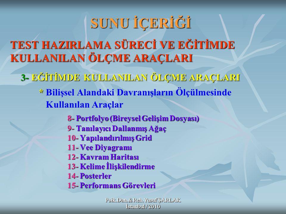 Psik.Dan.& Reh.Yusuf ŞARLAK İstanbul / 2010 A) B) C) D) E) Öğrencinin belirli bir süreçteki gelişimini incelemek amacıyla geliştirilen bireysel gelişim dosyalarının değerlendirilmesine Portfolyo Değerlendirme adı verilir.