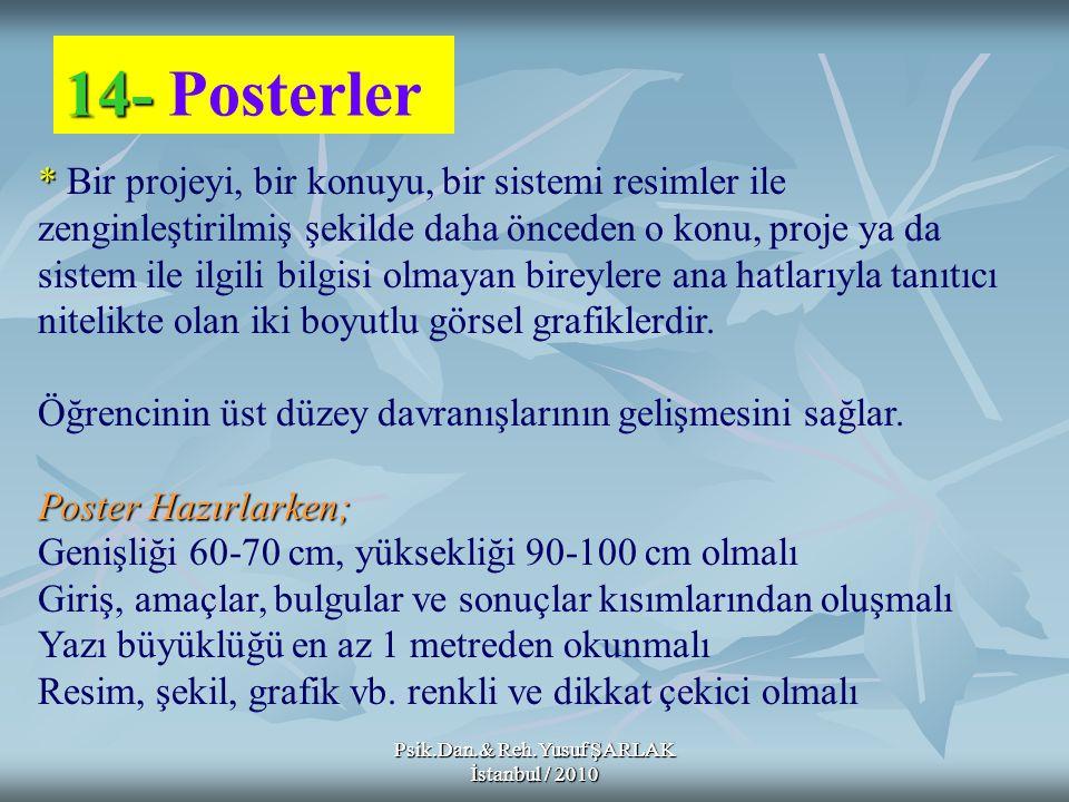 Psik.Dan.& Reh.Yusuf ŞARLAK İstanbul / 2010 14- 14- Posterler * * Bir projeyi, bir konuyu, bir sistemi resimler ile zenginleştirilmiş şekilde daha önc