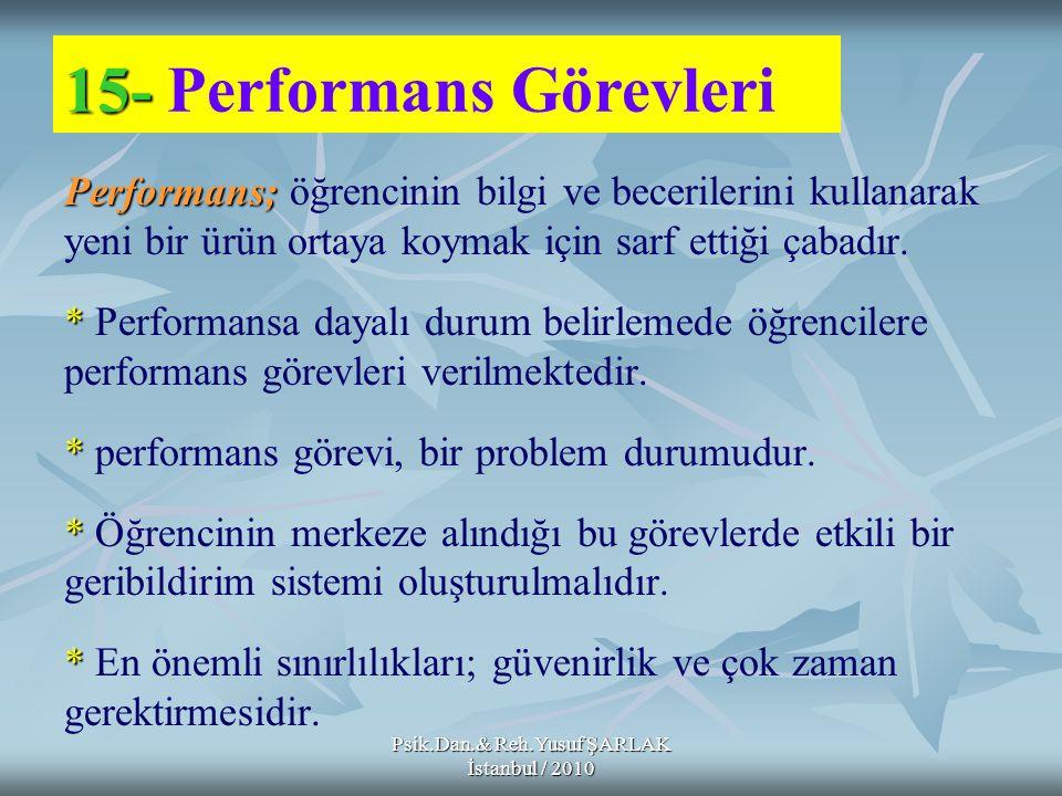 Psik.Dan.& Reh.Yusuf ŞARLAK İstanbul / 2010 Performans; Performans; öğrencinin bilgi ve becerilerini kullanarak yeni bir ürün ortaya koymak için sarf