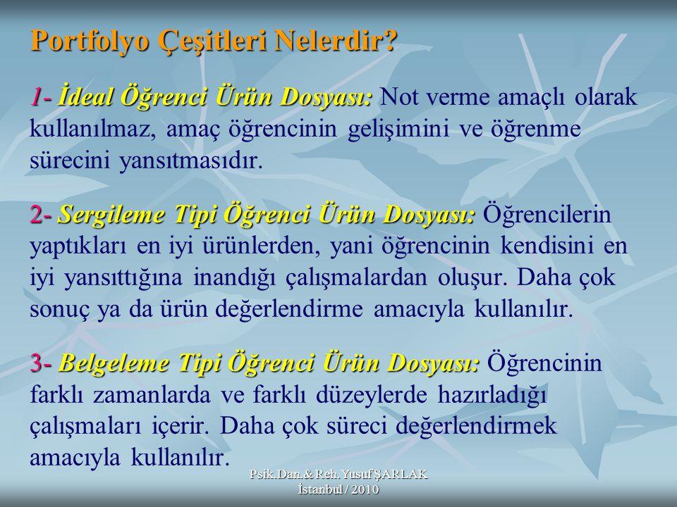 Psik.Dan.& Reh.Yusuf ŞARLAK İstanbul / 2010 Portfolyo Çeşitleri Nelerdir? 1- İdeal Öğrenci Ürün Dosyası: 2-Sergileme Tipi Öğrenci Ürün Dosyası: 3-Belg