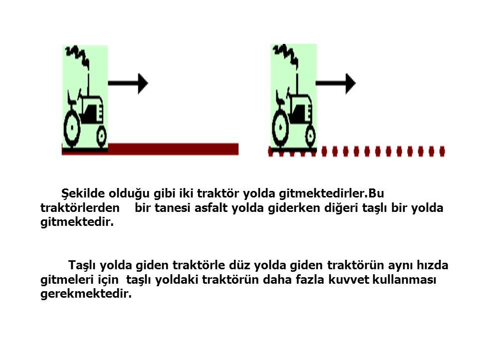 Şekilde olduğu gibi iki traktör yolda gitmektedirler.Bu traktörlerden bir tanesi asfalt yolda giderken diğeri taşlı bir yolda gitmektedir.