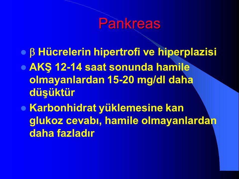 Pankreas  Hücrelerin hipertrofi ve hiperplazisi AKŞ 12-14 saat sonunda hamile olmayanlardan 15-20 mg/dl daha düşüktür Karbonhidrat yüklemesine kan gl