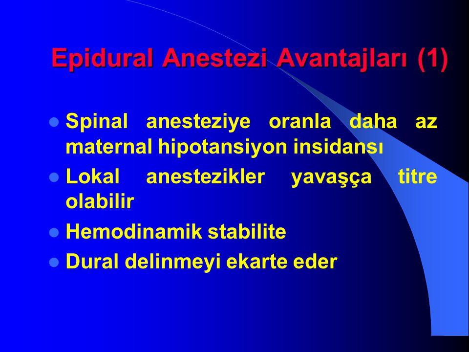 Epidural Anestezi Avantajları (1) Epidural Anestezi Avantajları (1) Spinal anesteziye oranla daha az maternal hipotansiyon insidansı Lokal anestezikle