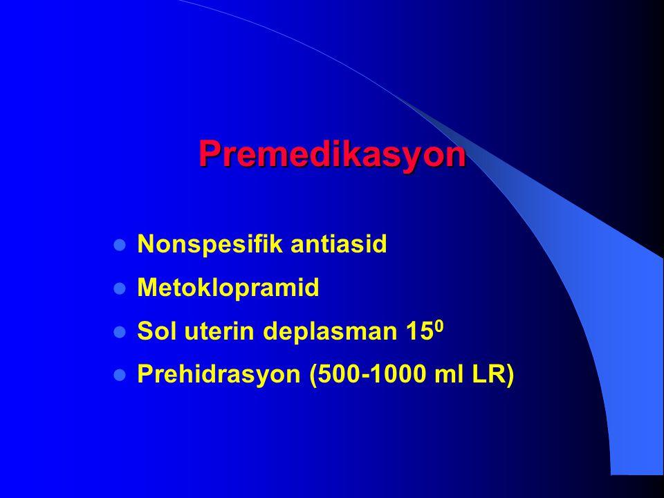 Premedikasyon Nonspesifik antiasid Metoklopramid Sol uterin deplasman 15 0 Prehidrasyon (500-1000 ml LR)