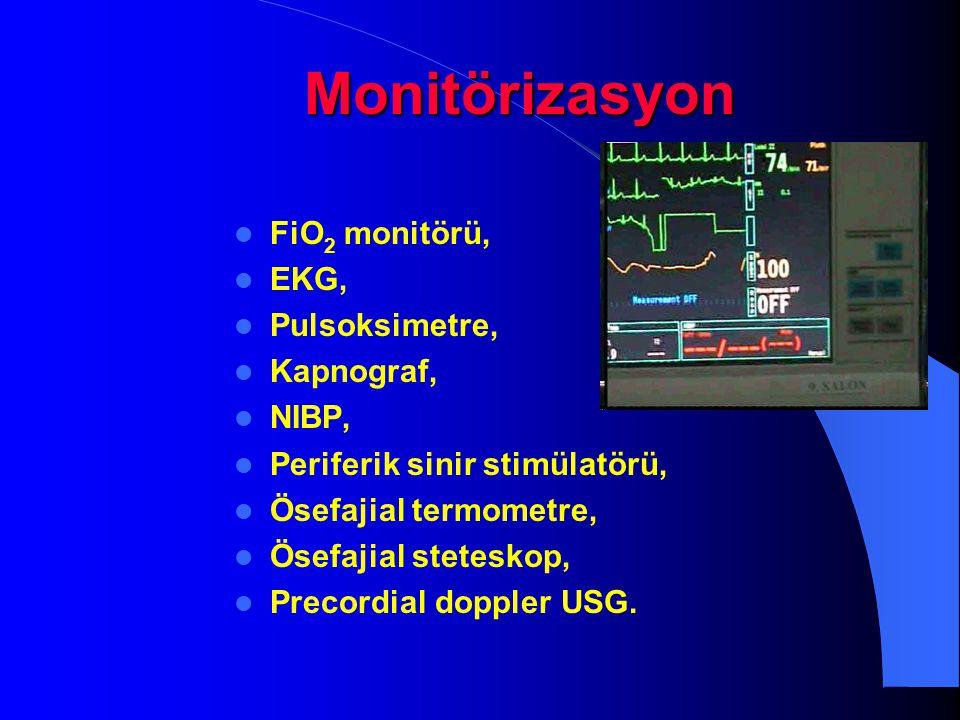 Monitörizasyon FiO 2 monitörü, EKG, Pulsoksimetre, Kapnograf, NIBP, Periferik sinir stimülatörü, Ösefajial termometre, Ösefajial steteskop, Precordial