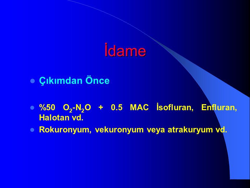 İdame Çıkımdan Önce %50 O 2 -N 2 O + 0.5 MAC İsofluran, Enfluran, Halotan vd. Rokuronyum, vekuronyum veya atrakuryum vd.