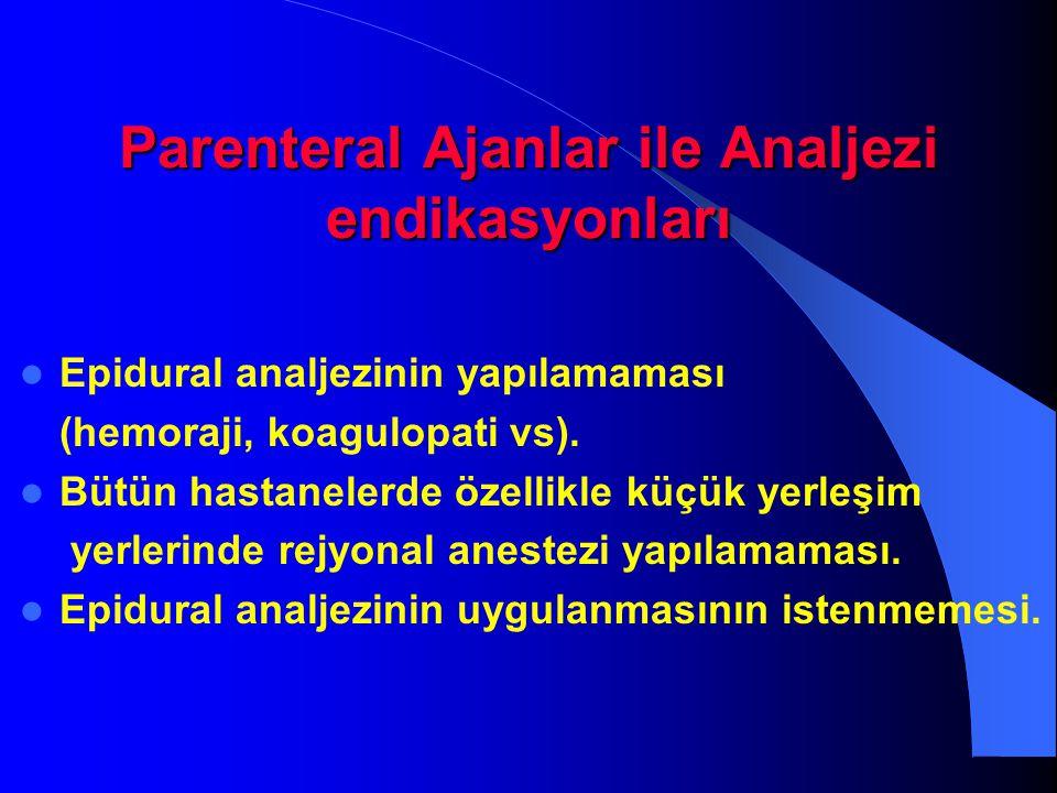 Parenteral Ajanlar ile Analjezi endikasyonları Epidural analjezinin yapılamaması (hemoraji, koagulopati vs). Bütün hastanelerde özellikle küçük yerleş
