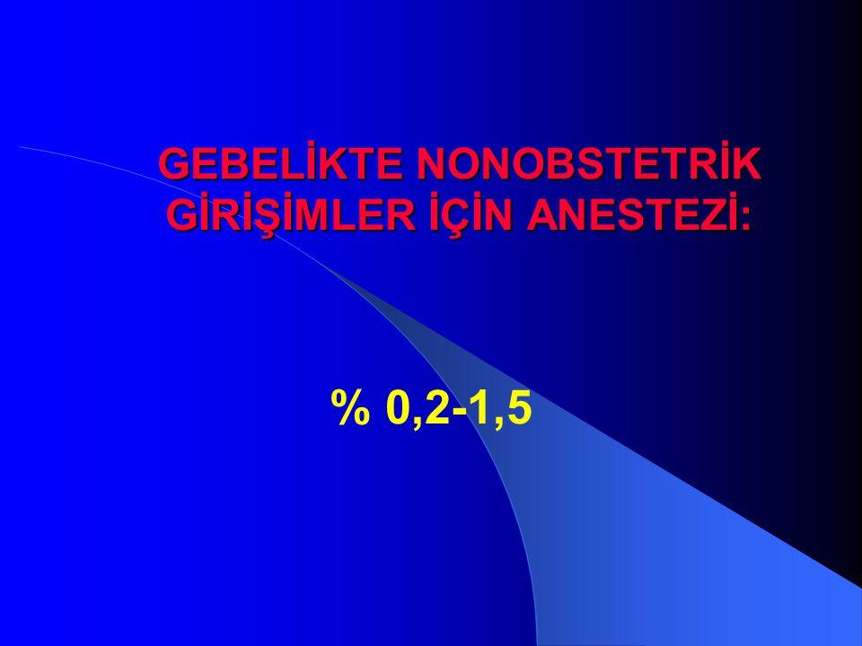 GEBELİKTE NONOBSTETRİK GİRİŞİMLER İÇİN ANESTEZİ: % 0,2-1,5