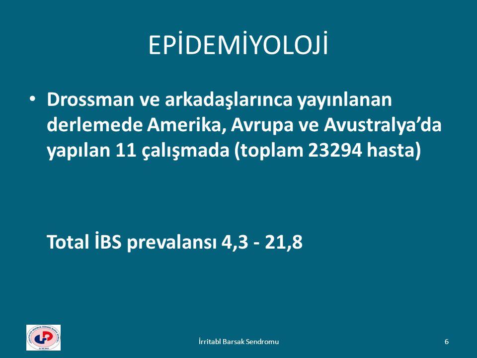 İBS AYIRICI TANISI MALABSORBSİYON SENDROMLARI: ( gluten enteropatisi, postgastrektomik durumlar, pankreatik yetersizlik vb.) PSİKOLOJİK DURUMLAR: Anksiyete, panik bozukluklar, depresyon vb.) DİĞER: Endokrin hastalıklar (DM, hipotiroidi, hipertiroidi), endometriozis, PID, endokrin tümörler, AIDS, gastrik sarkoidozis İrritabl Barsak Sendromu27
