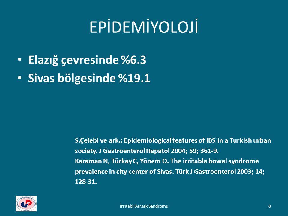 EPİDEMİYOLOJİ Elazığ çevresinde %6.3 Sivas bölgesinde %19.1 S.Çelebi ve ark.: Epidemiological features of IBS in a Turkish urban society. J Gastroente