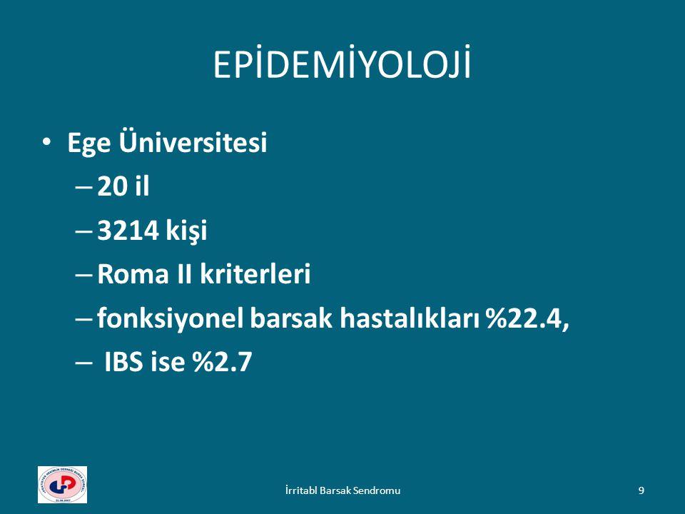 EPİDEMİYOLOJİ Ege Üniversitesi – 20 il – 3214 kişi – Roma II kriterleri – fonksiyonel barsak hastalıkları %22.4, – IBS ise %2.7 İrritabl Barsak Sendro