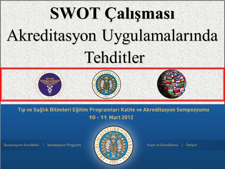 1 SWOT Çalışması Akreditasyon Uygulamalarında Tehditler Tehditler / 8