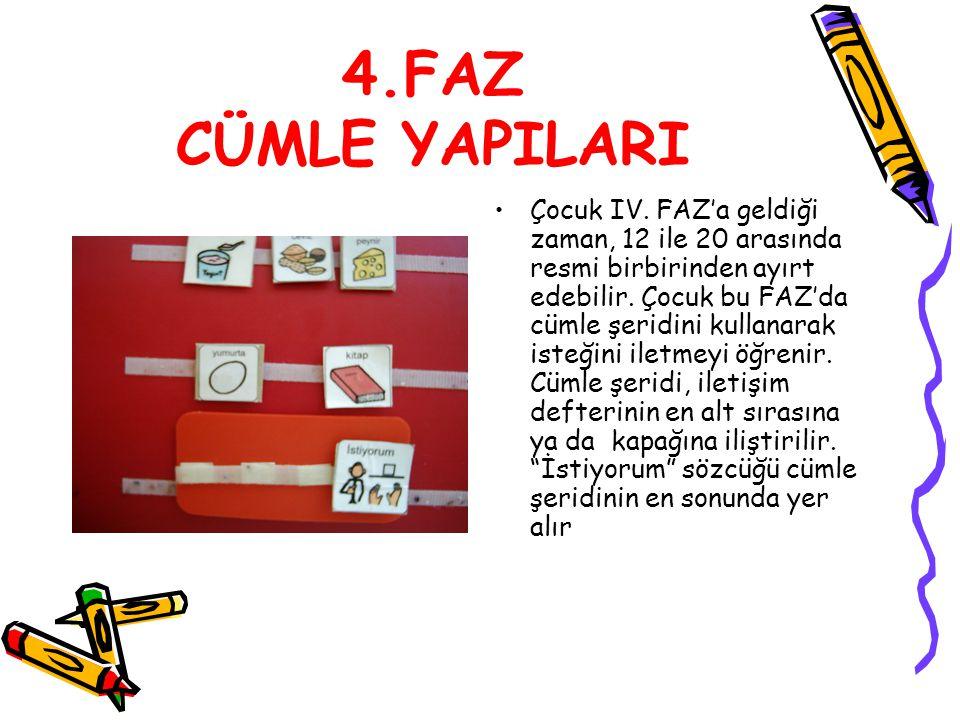 4.FAZ CÜMLE YAPILARI Çocuk IV. FAZ'a geldiği zaman, 12 ile 20 arasında resmi birbirinden ayırt edebilir. Çocuk bu FAZ'da cümle şeridini kullanarak ist