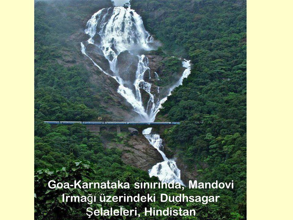 7 Goa-Karnataka sınırında, Mandovi Irma ğ ı üzerindeki Dudhsagar Ş elaleleri, Hindistan