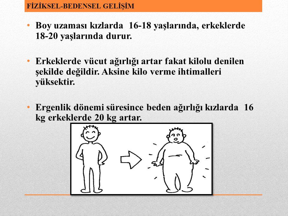 Boy uzaması kızlarda 16-18 yaşlarında, erkeklerde 18-20 yaşlarında durur. Erkeklerde vücut ağırlığı artar fakat kilolu denilen şekilde değildir. Aksin