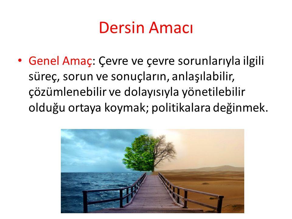 Ders Kapsamında Özel Amaçlar Öğrencilerin, çevrenin ve çevre sorunlarının uygarlığın gelişimyle ilgili olduğunu kavramalarını, Tarihin farklı dönemlerinde çevre sorunlarının niteliğini belirleyen ekonomik ve sosyo- kültürel gelişmeleri anlamalarını Mevcut sorunları ve çözüme yönelik politikaları, dünya ve Türkiye ölçeğinde düşünmelerini sağlamak.