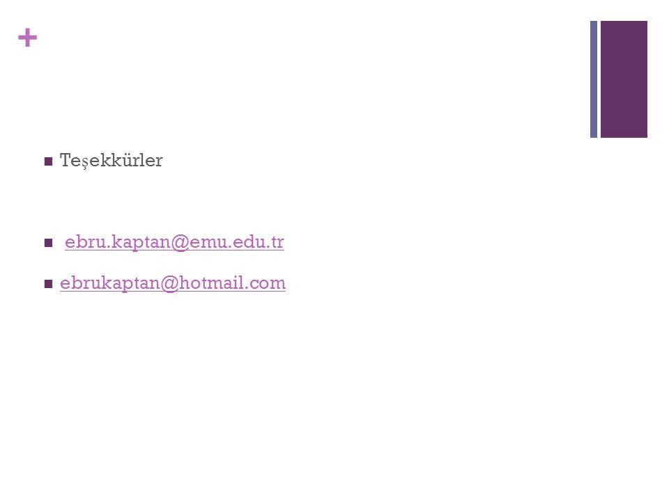 + Te ş ekkürler ebru.kaptan@emu.edu.tr ebrukaptan@hotmail.com