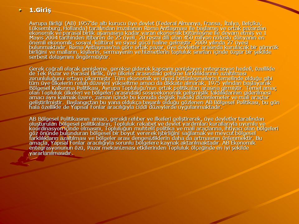 1.Giriş Avrupa Birliği (AB) 1957 de altı kurucu üye devlet (Federal Almanya, Fransa, İtalya, Belçika, Lüksemburg, Hollanda) tarafından imzalanan Roma Antlaşması ile başlamış ve ortak pazardan ekonomik ve parasal birlik aşamasına kadar varan ekonomik bütünleşme ile devam etmiş ve 1 Mayıs 2004 tarihinden itibaren de 25 üyeli, 20 resmi dili olan 450 milyon nüfuslu dünyanın en önemli ekonomik, sosyal, kültürel ve siyasi gücü haline gelmiştir.