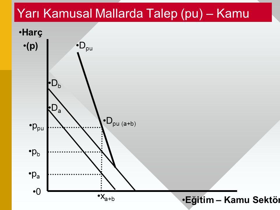 Yarı Kamusal Mallarda Talep (pu) – Kamu 0 Harç (p) p b D pu (a+b) D b D a p a p pu Eğitim – Kamu Sektörü D pu x a+b