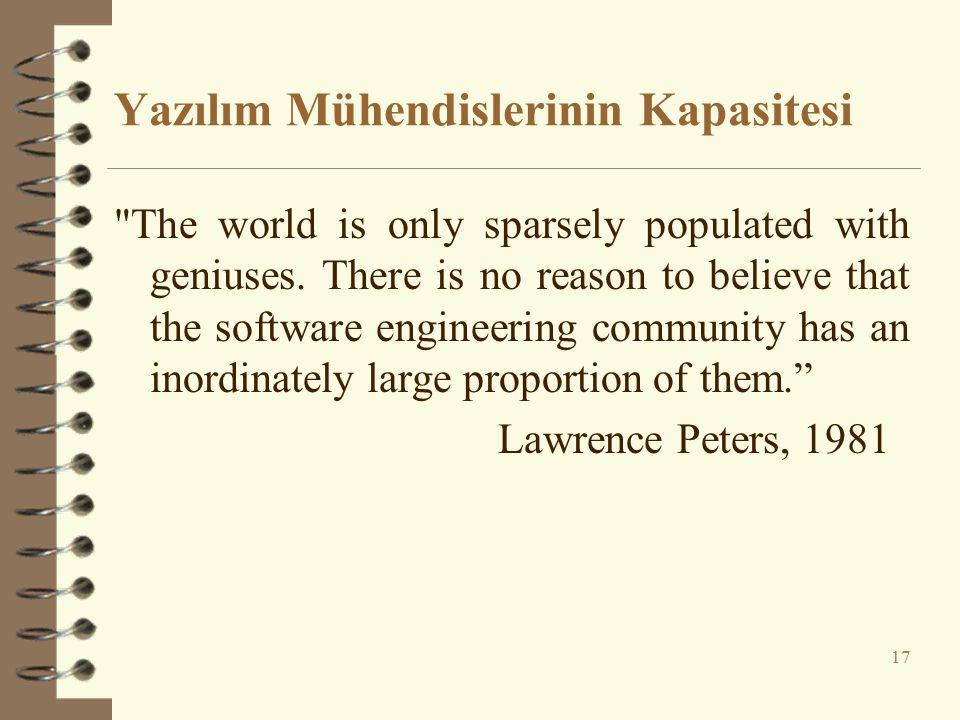 Yazılım Mühendislerinin Kapasitesi The world is only sparsely populated with geniuses.