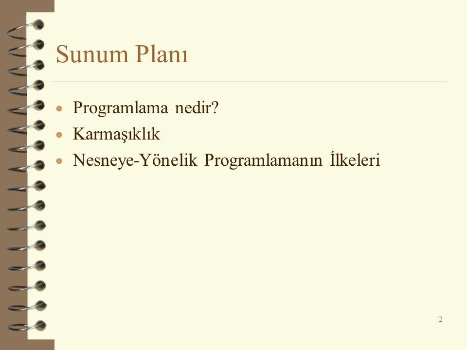 Sunum Planı  Programlama nedir?  Karmaşıklık  Nesneye-Yönelik Programlamanın İlkeleri 2