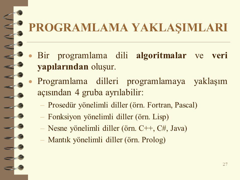PROGRAMLAMA YAKLAŞIMLARI  Bir programlama dili algoritmalar ve veri yapılarından oluşur.